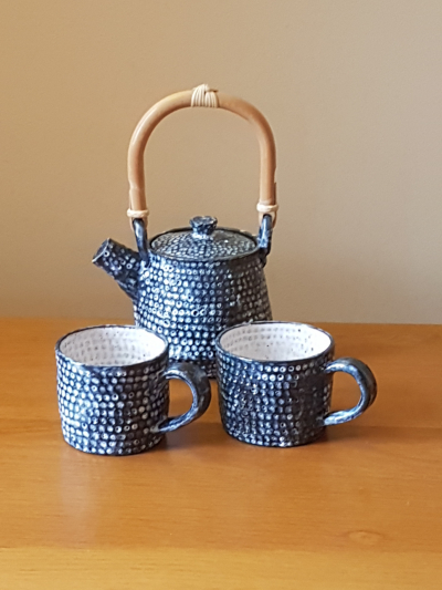 Blue Dimpled Teapot and Cups