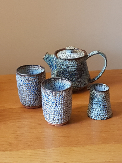 Blue/Green Dimpled Teapot, Jug and Cups