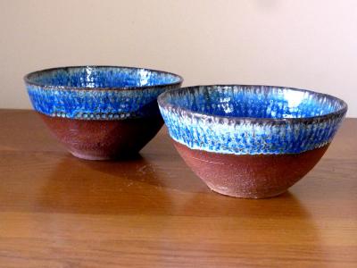 2 Blue Dimpled Bowls