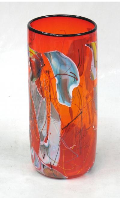 Shard Cylinder - Transparent Orange with Blue Shards