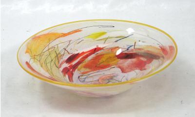 Shard Bowl - Primsose with Orange Shards