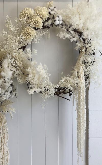 White floral wreath
