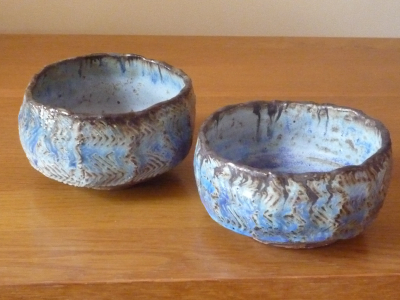 2 Blue-Green Faceted Japanese Tea Bowls