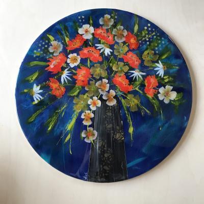 Florals in Orange -side Table